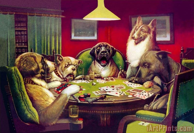 Waterloo Dogs Playing Poker painting - cassius marcellus coolidge Waterloo Dogs Playing Poker Art Print