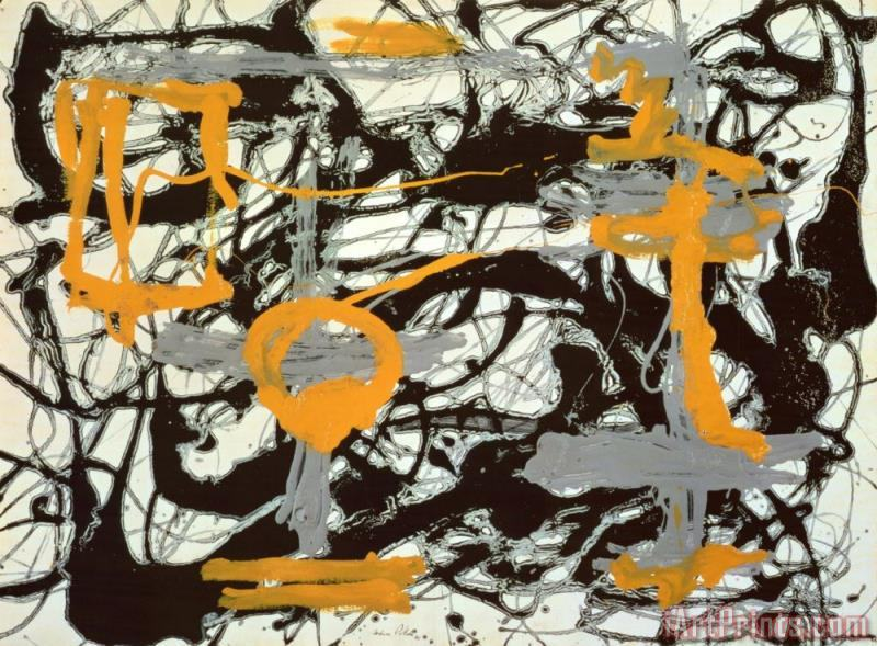 Yellow Grey Black painting - Jackson Pollock Yellow Grey Black Art Print