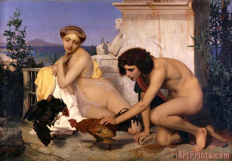 Jean Leon Gerome Young Greeks Attending a Cock Fight Art Print