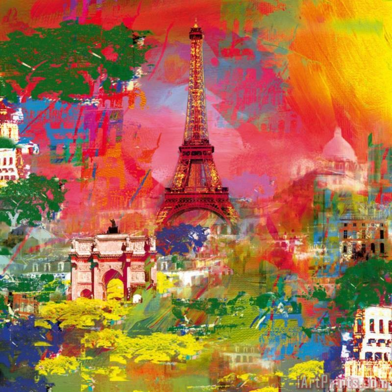 Paris La Tour Eiffel painting - Robert Holzach Paris La Tour Eiffel Art Print