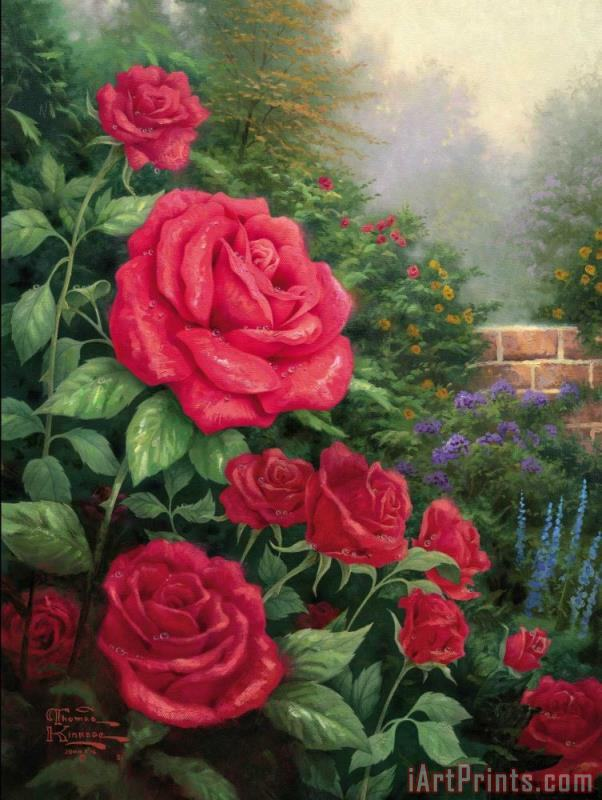 Thomas Kinkade A Perfect Red Rose Art Print