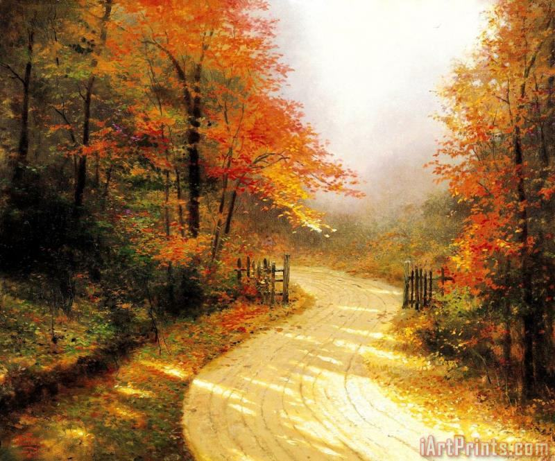 Autumn Lane painting - Thomas Kinkade Autumn Lane Art Print