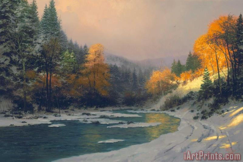 Thomas Kinkade Autumn Snow Art Print