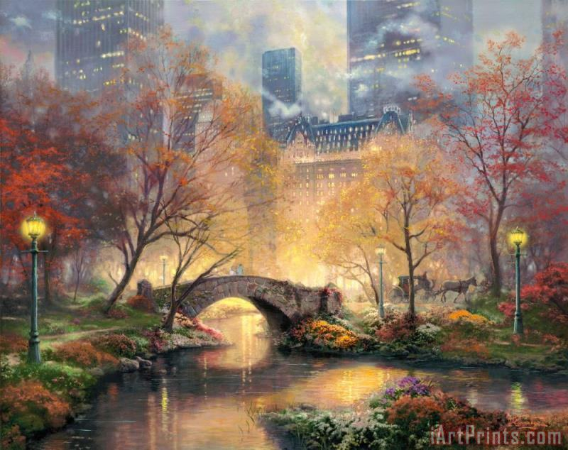 Central Park in The Fall painting - Thomas Kinkade Central Park in The Fall Art Print