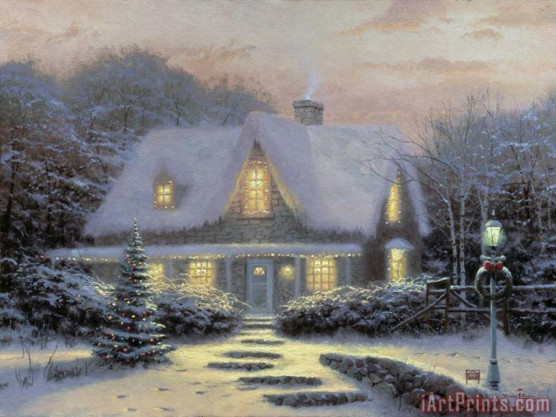 Thomas Kinkade Christmas.Christmas Eve Painting Print