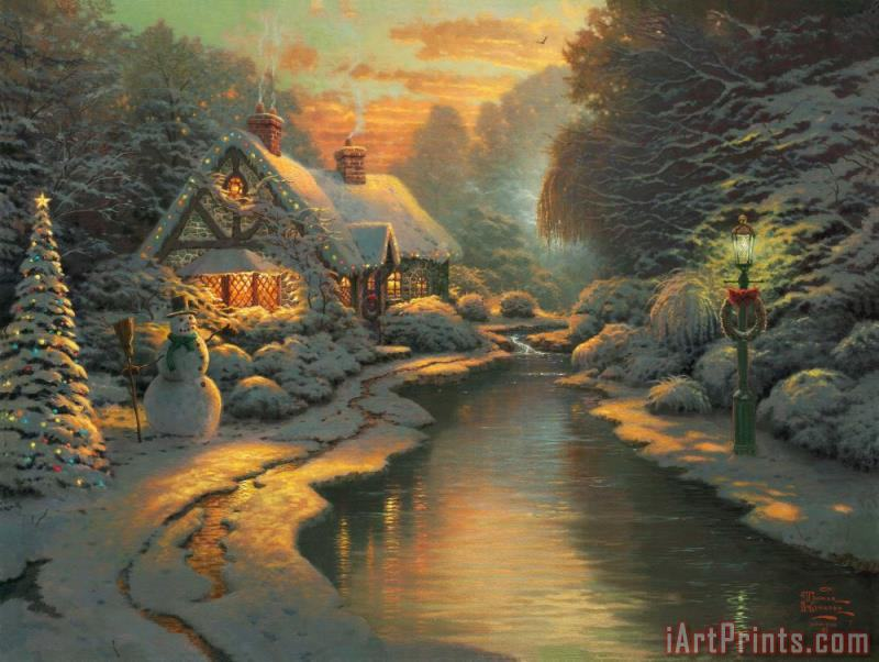Christmas Evening painting - Thomas Kinkade Christmas Evening Art Print