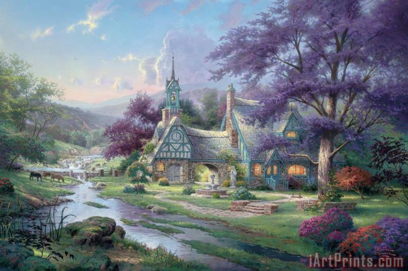 thomas kinkade clocktower cottage painting clocktower cottage rh iartprints com  thomas kinkade clocktower cottage value