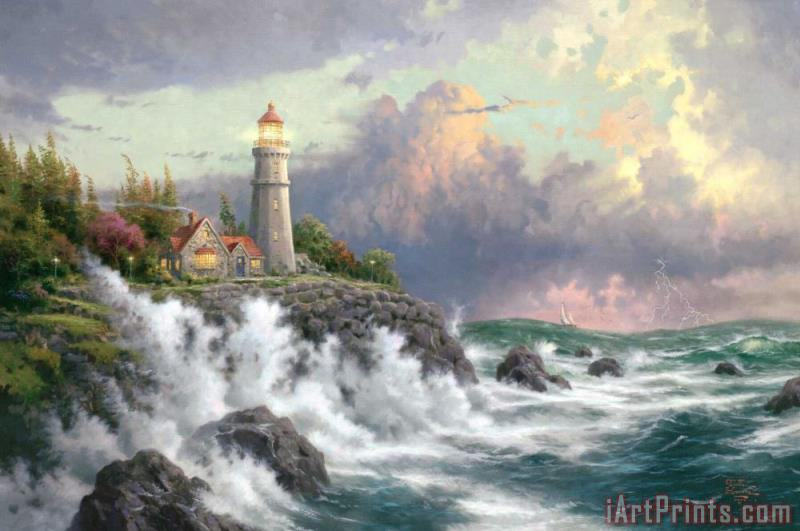 Conquering The Storms painting - Thomas Kinkade Conquering The Storms Art Print
