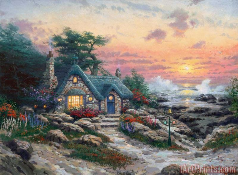 Cottage by The Sea painting - Thomas Kinkade Cottage by The Sea Art Print