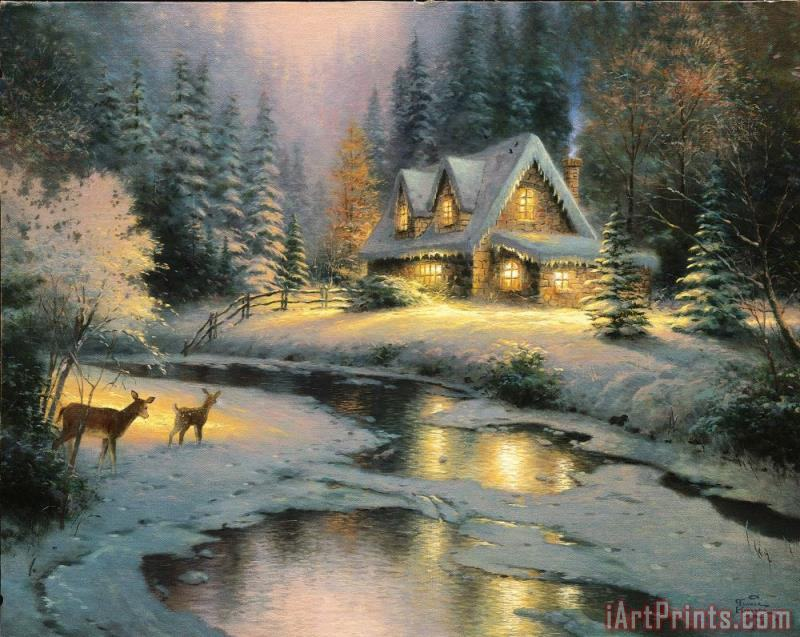 Deer Creek Cottage painting - Thomas Kinkade Deer Creek Cottage Art Print