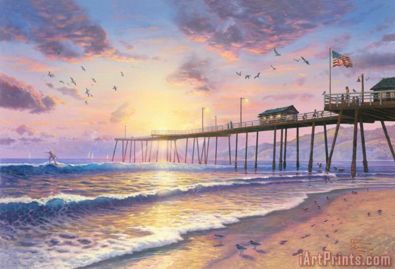 Footprints in The Sand painting - Thomas Kinkade Footprints in The Sand Art Print