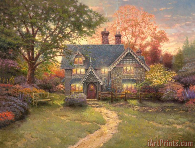 Gingerbread Cottage painting - Thomas Kinkade Gingerbread Cottage Art Print