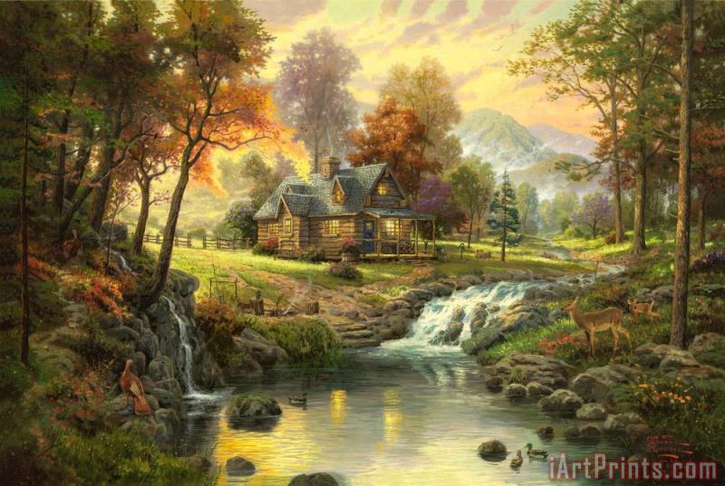 Thomas Kinkade Mountain Retreat Art Print