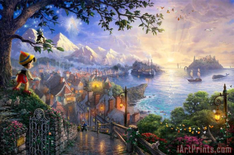 Pinocchio Wishes Upon a Star painting - Thomas Kinkade Pinocchio Wishes Upon a Star Art Print