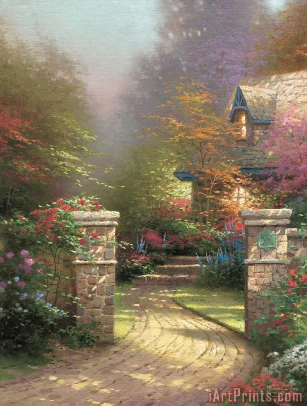 Thomas Kinkade Rose Gate Art Print