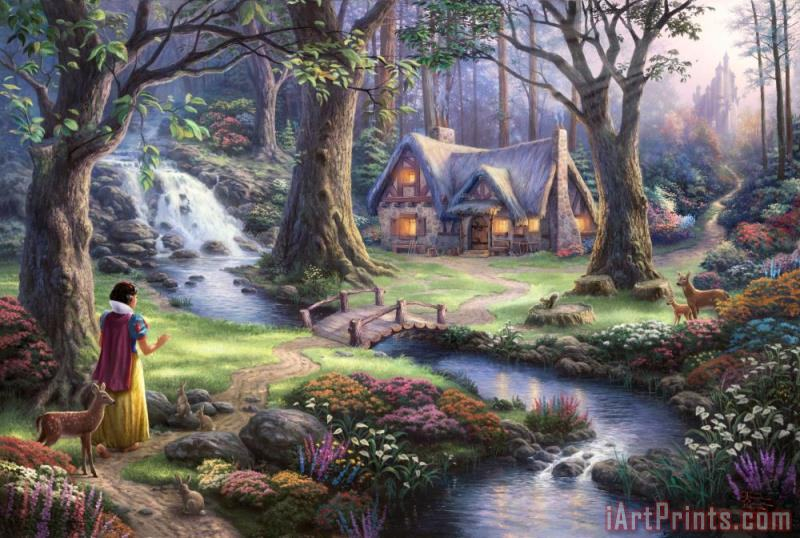 Snow White Discovers The Cottage painting - Thomas Kinkade Snow White Discovers The Cottage Art Print