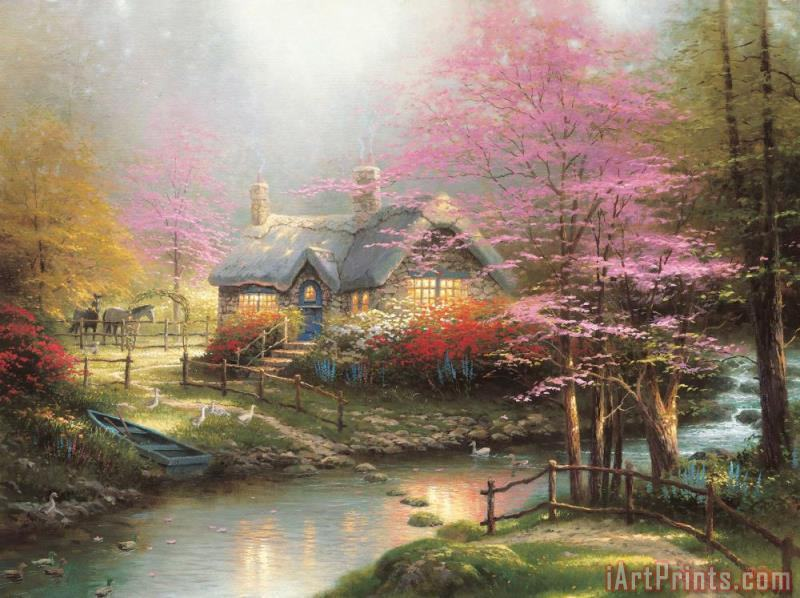 Stepping Stone Cottage painting - Thomas Kinkade Stepping Stone Cottage Art Print