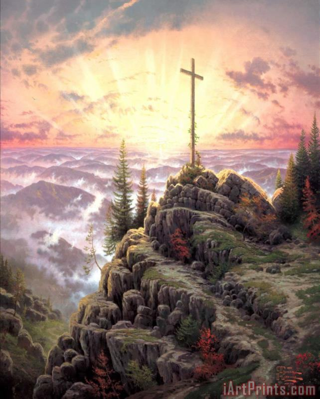 Sunrise painting - Thomas Kinkade Sunrise Art Print