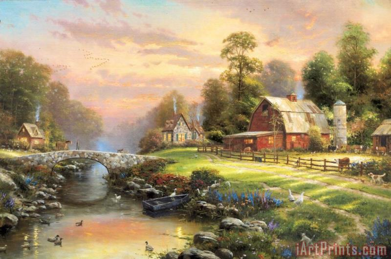 Sunset at Riverbend Farm painting - Thomas Kinkade Sunset at Riverbend Farm Art Print