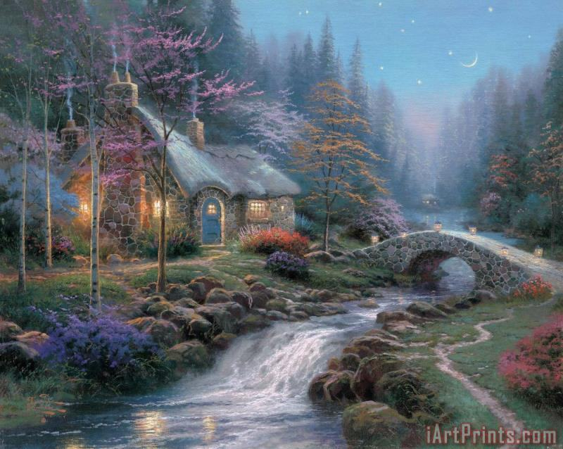 Remarkable Thomas Kinkade Twilight Cottage Painting Twilight Cottage Print For Sale Home Interior And Landscaping Ologienasavecom
