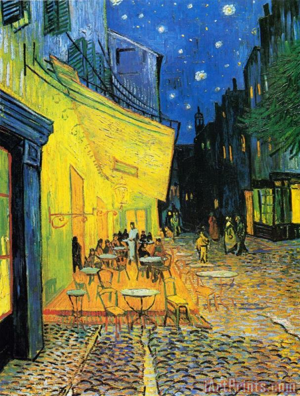 Vincent van Gogh Terrace of The Cafe on The Place Du Forum in Arles in The Evening Art Print