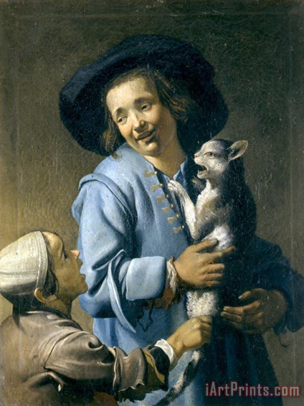 Youths Playing with The Cat painting - Abraham Bloemaert Youths Playing with The Cat Art Print