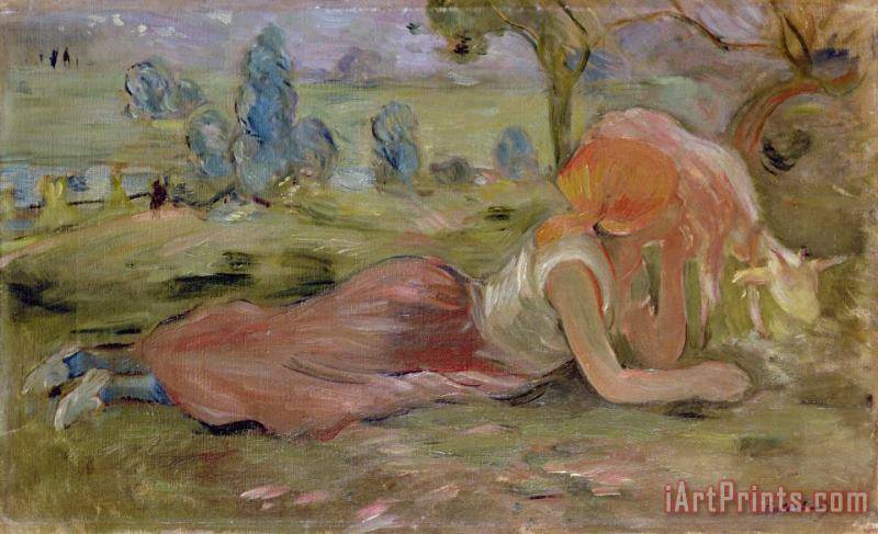 The Goatherd painting - Berthe Morisot The Goatherd Art Print