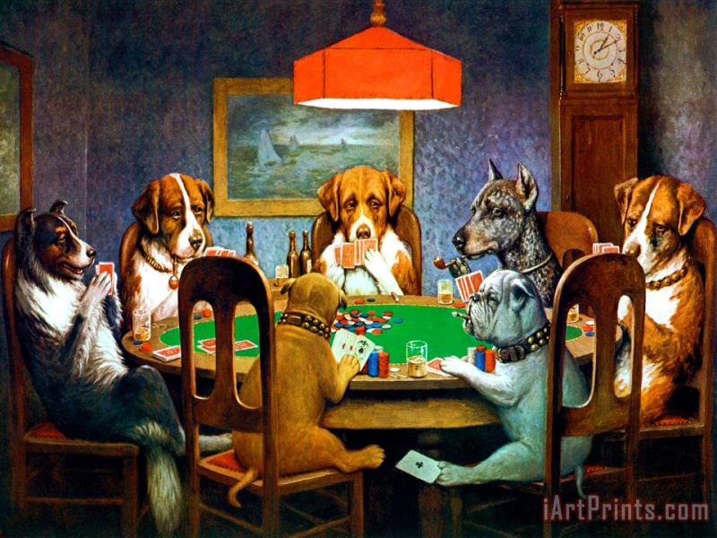 A Friend in Need Dogs Playing Poker painting - cassius marcellus coolidge A Friend in Need Dogs Playing Poker Art Print