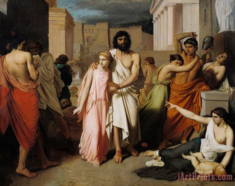 Charles Francois Jalabert Oedipus And Antigone Or The Plague Of