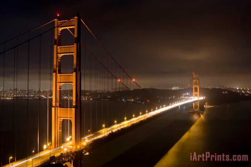 Golden Gate at night painting - Collection 6 Golden Gate at night Art Print