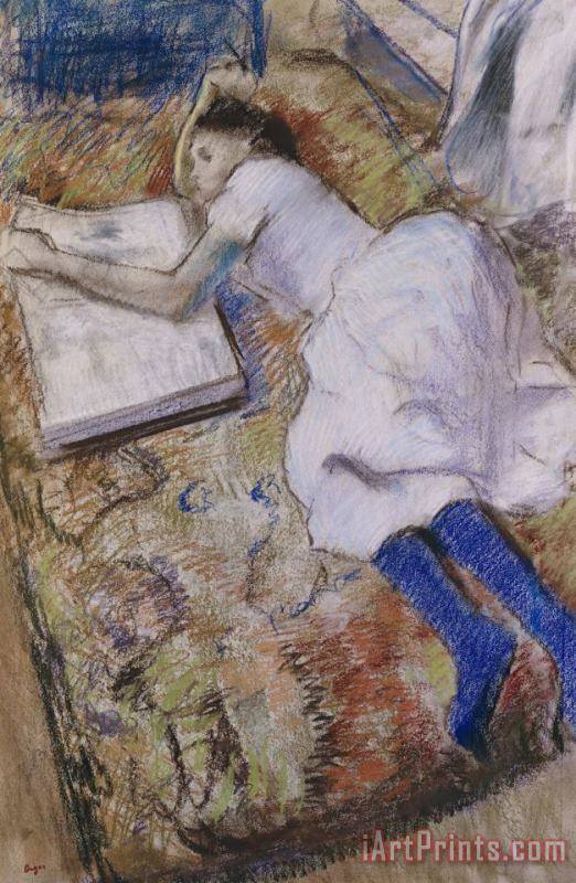 A Young Girl Stretched Out And Looking at an Album painting - Edgar Degas A Young Girl Stretched Out And Looking at an Album Art Print
