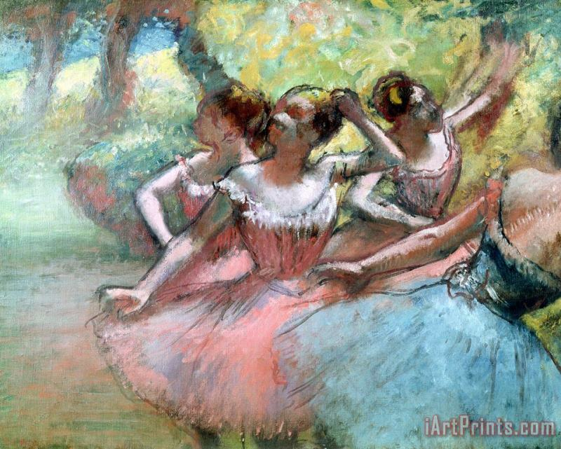 Edgar Degas Four ballerinas on the stage Art Painting