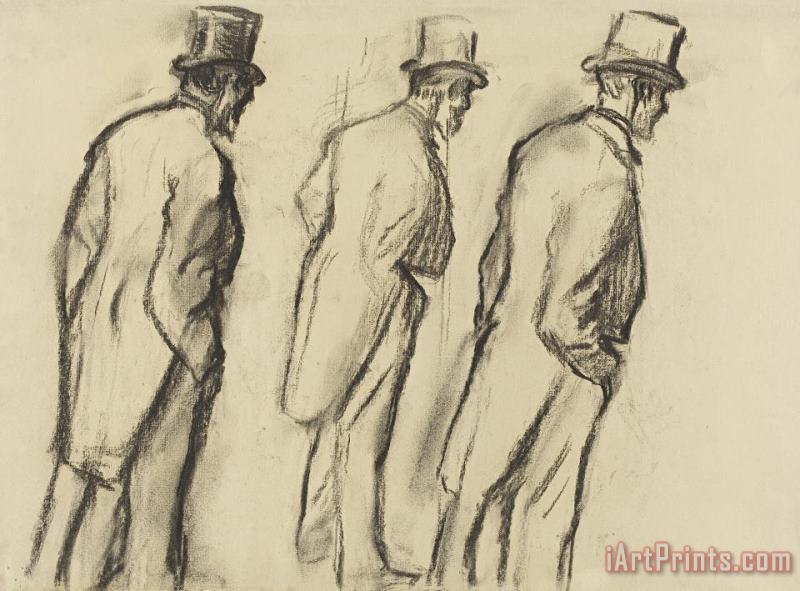 Three Studies of Ludovic Halevy Standing painting - Edgar Degas Three Studies of Ludovic Halevy Standing Art Print