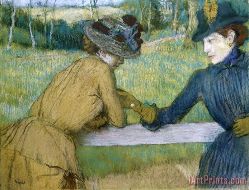 Two Women Leaning on a Fence Rail painting - Edgar Degas Two Women Leaning on a Fence Rail Art Print