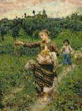 Shepherdess carrying a bunch of grapes by Francesco Paolo Michetti