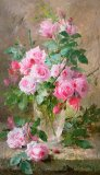 Still life of roses in a glass vase by Frans Mortelmans