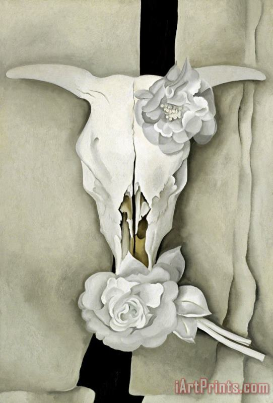 Cow's Skull with Calico Roses painting - Georgia O'keeffe Cow's Skull with Calico Roses Art Print