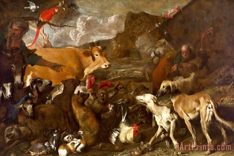 Noah And The Animals Entering The Ark painting - Giovanni Benedetto Castiglione Noah And The Animals Entering The Ark Art Print