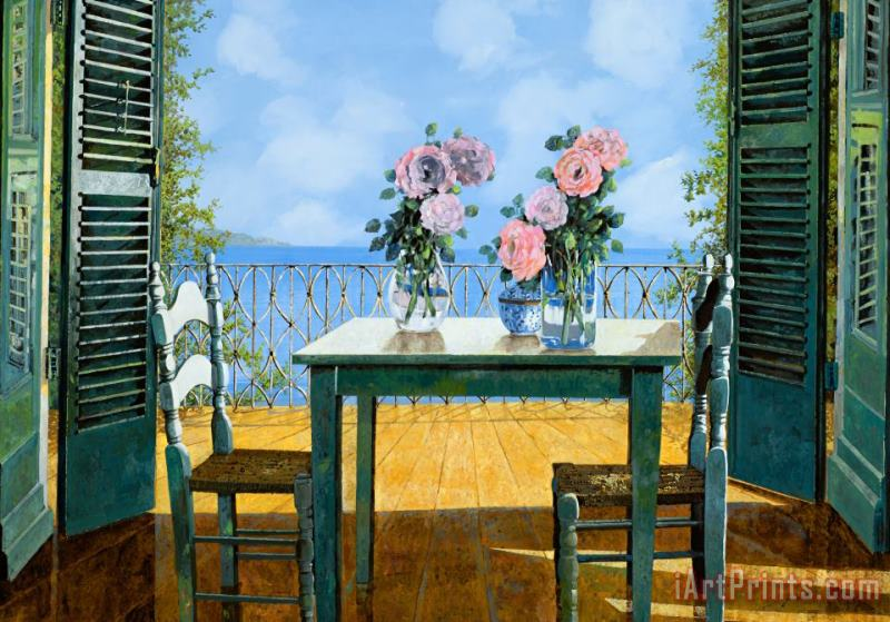 Le Rose E Il Balcone painting - Collection 7 Le Rose E Il Balcone Art Print