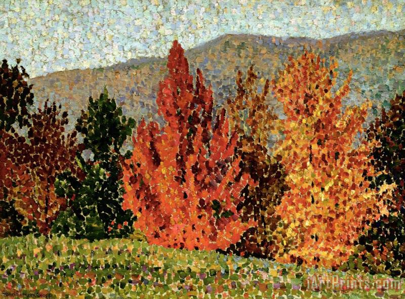 Autumn Landscape painting - Henri-Edmond Cross Autumn Landscape Art Print