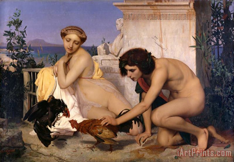 Young Greeks Attending a Cock Fight painting - Jean Leon Gerome Young Greeks Attending a Cock Fight Art Print