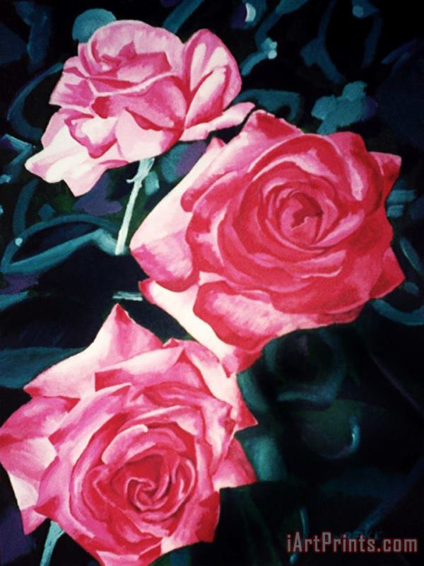 Roses painting - Jerome Lawrence Roses Art Print