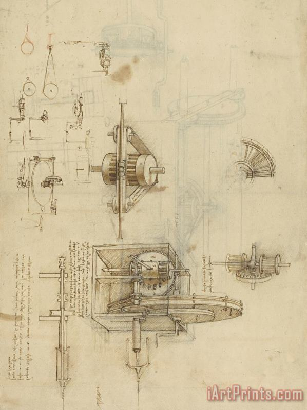 Crank Spinning Machine With Several Details painting - Leonardo da Vinci Crank Spinning Machine With Several Details Art Print