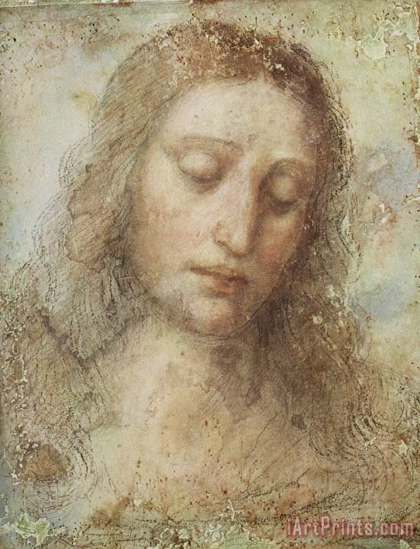 Head of Christ painting - Leonardo da Vinci Head of Christ Art Print
