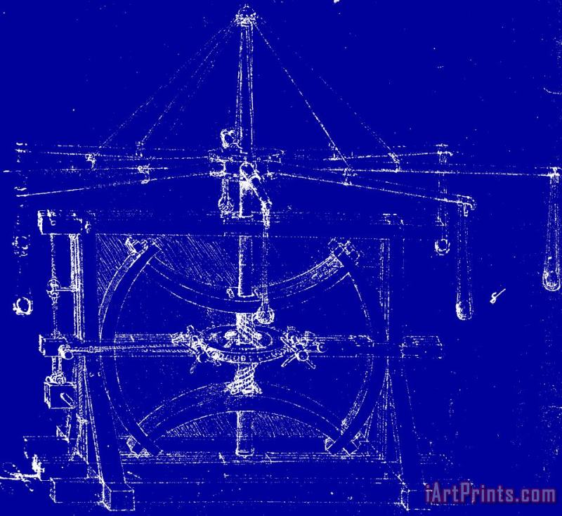 Machine Blueprint painting - Leonardo da Vinci Machine Blueprint Art Print