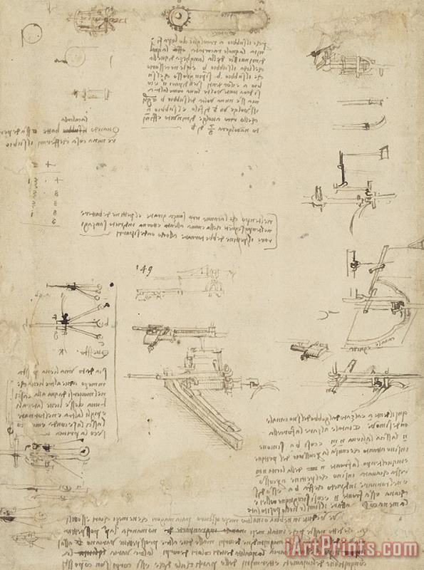 Notes About Perspective And Sketch Of Devices For Textile Machinery From Atlantic Codex painting - Leonardo da Vinci Notes About Perspective And Sketch Of Devices For Textile Machinery From Atlantic Codex Art Print