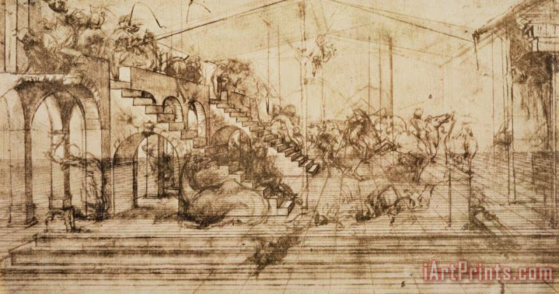 Perspective Study For The Background Of The Adoration Of The Magi painting - Leonardo da Vinci Perspective Study For The Background Of The Adoration Of The Magi Art Print