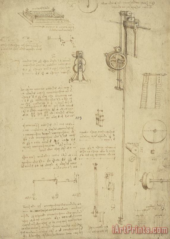 Leonardo da Vinci Study And Calculations For Determining Friction Drawing With Notes On Gardens Of Milanese Palace Art Painting