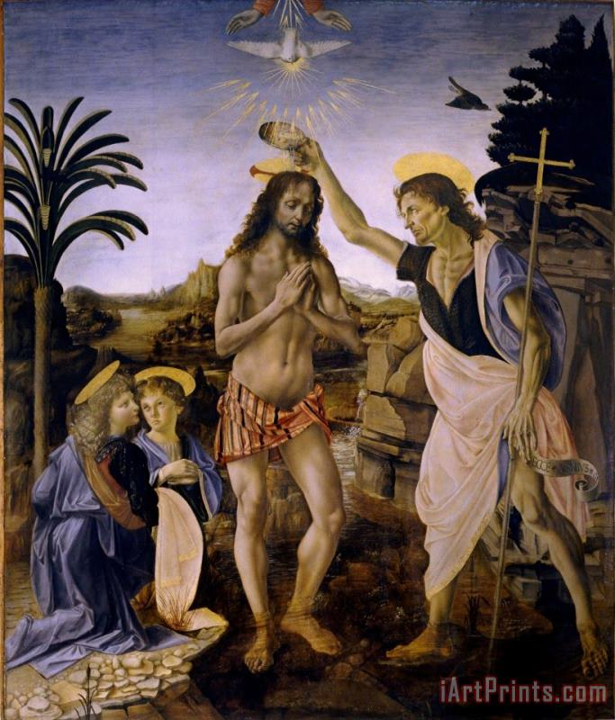 The Baptism Of Christ painting - Leonardo da Vinci The Baptism Of Christ Art Print