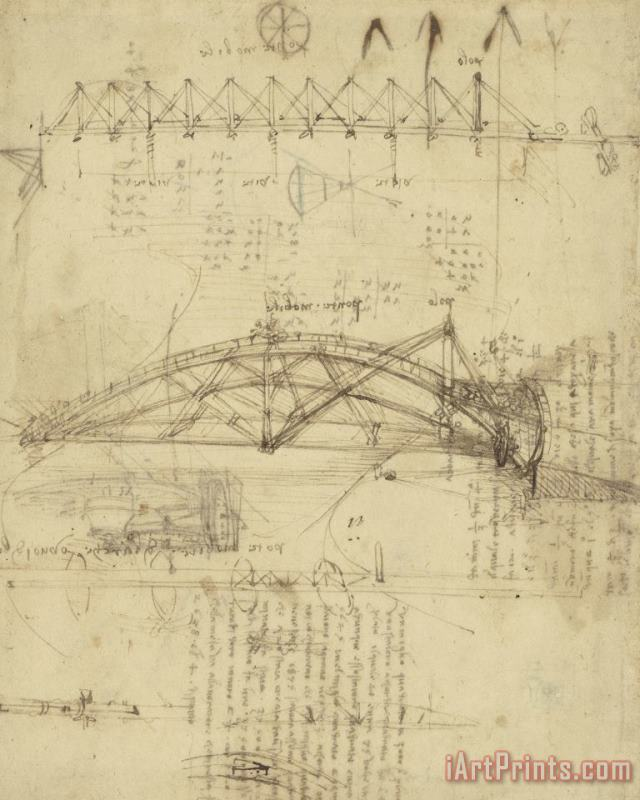 Three Kinds Of Movable Bridge painting - Leonardo da Vinci Three Kinds Of Movable Bridge Art Print